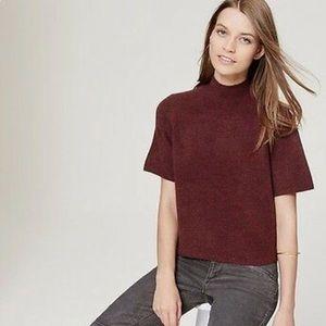 LOFT Italian Yarn Soft Cropped Mock Neck Sweater